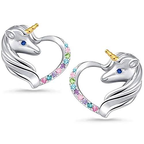 Einhorn Zirkonia Herz Damen Mädchen Kinder Ohrringe 925 echt Silber Pferde Ohrstecker (A-Bunt)