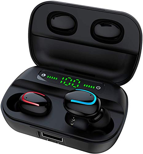 True Wireless Earbuds Bluetooth V5.0 Headphones Deep Bass Stero Sound Mini Headsets 80H Total Playtime with Charging Case Built-in Mic Earphones for Driving,Sports