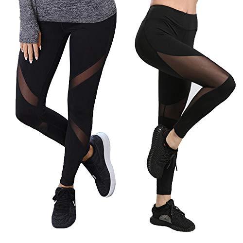 GoVIA Mesh Leggings Damen Sporthose mit Netzeinsätzen Workout High Waist 4107+4135L Blau Gr.S/M