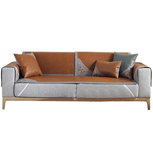 YUTJK Torka tvätt isrotting sommar soffmatta, stol Loveseat soffa soffa soffa överdrag bil soffa säng säte möbelöverdrag tyg, tawny 1_60 × 180 cm
