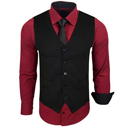 Rusty Neal Herren Hemd mit Weste Krawatte Anzugs Sakko Business Hochzeit Freizeit Hemden Set wählbar RN-44-HWK, Größe:XL, Farbe:Bordo