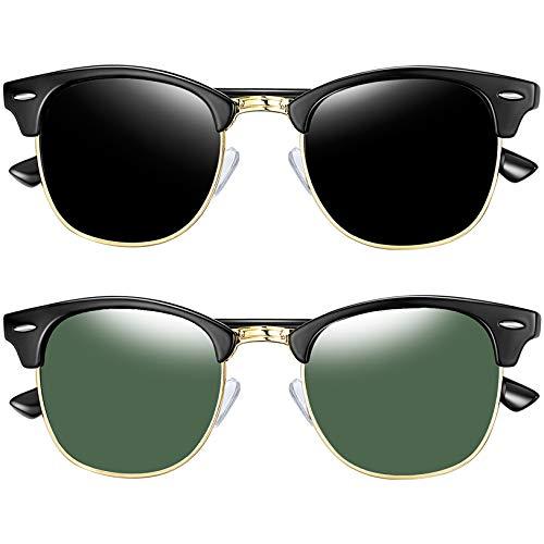 Joopin Gafas de sol Polarizadas Clásico Medio Marco para Hombre, Retro Semi...