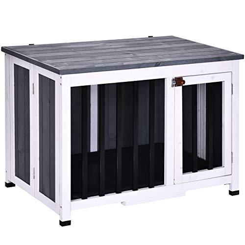 Pawhut Hundehütte, Faltbarer Hundekäfig, Hundehaus mit Fenster, Haustier, Massivholz, Grau, 84,5 x 51,4 x 61 cm