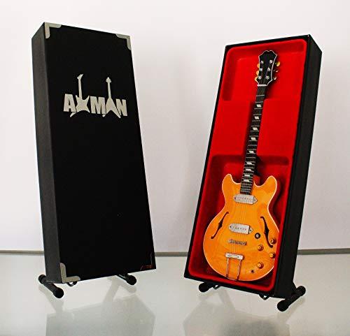 Miniatura Guitarra Replica: John Lennon 1965Epiphone Casino e230td–Modelo Mini Rock Memorabilia réplica de madera miniatura guitarra & Libre Pantalla Soporte (vendedor de Reino Unido)