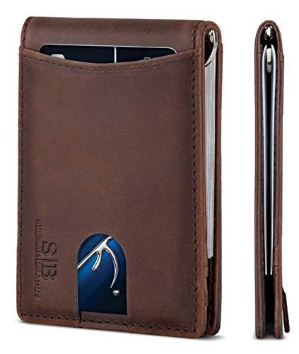 SERMAN BRANDS RFID Blocking Slim Bifold Genuine Leather...