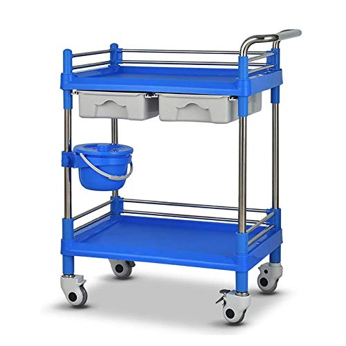 Trolley Shopping Car On Wheels Tool 2 Tier Mobile SPA Shopping Car Cart with Drawers & Dirt Bucket Universal Wheel Beauty Salon Cart with Brake Heavy-Duty ABS Utility Cart