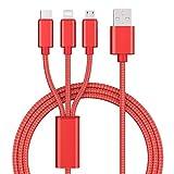 1.2m 3in1 充電 ケーブル マルチケーブル ナイロンマルチ充電ケーブル 複数のUSBケーブルを編んだ Type-C/Micro USB ポートコネクタ付き携帯電話など, USBケーブル品質が高い