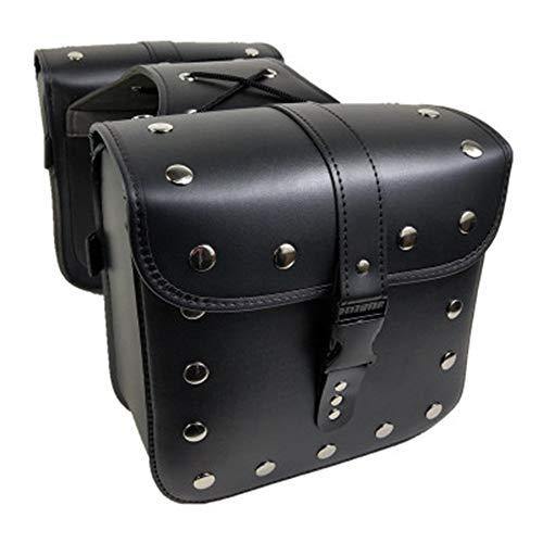 Anzene Motorrad-Satteltaschen aus PU-Leder, mit Nieten, modisch, langlebig, Dyna und Scooter, Schwarz, Medium, 1 Paar