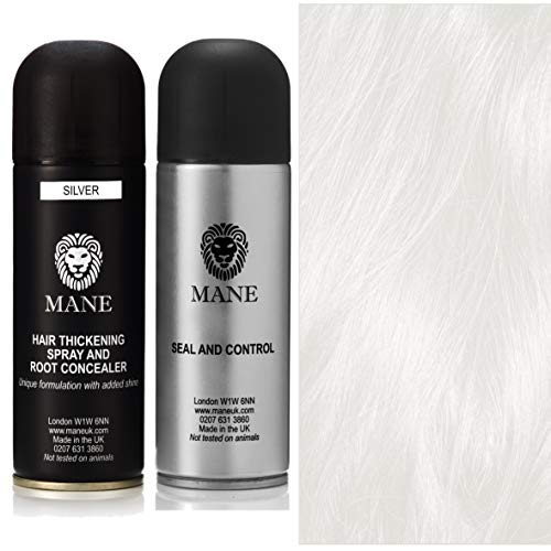 Mane Hair Thickening Spray 200 ml with Seal & Control 200 ml Fixing Spray -12 colours (Silver)