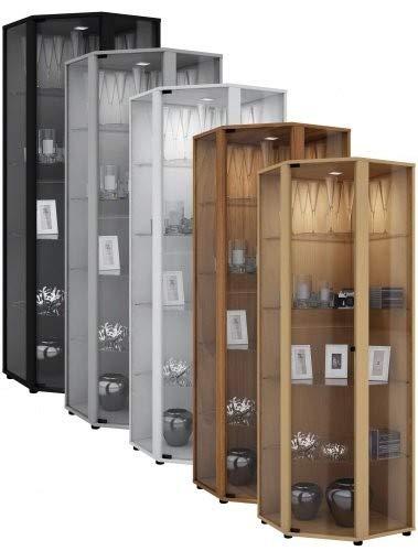 VCM Eckvitrine Glasvitrine Standvitrine Schrank Sammelvitrine Vitrine Glas Regal Buche 175 x 57 x 57 cm