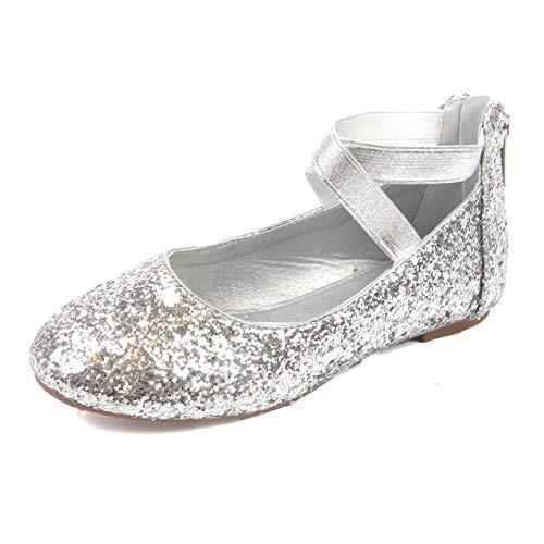 Nova Utopia — Sapatos infantis com tira elástica no tornozelo para meninas pequenas, NF Utopia Girl NFGF316, Nf316b - Silverglitter, 12 Little Kid