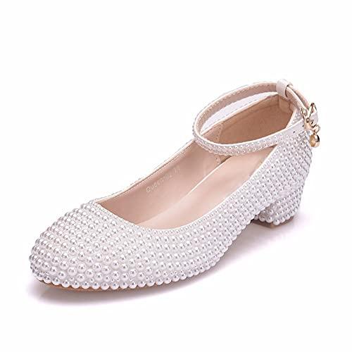 Zapatos de Boda para Mujer Verano con Punta Cerrada Perla de satén...