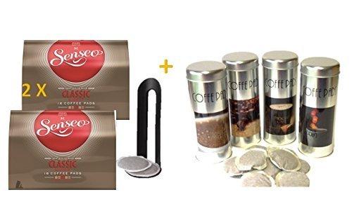 Senseo Kaffeepads Klassisch / Classic, neues Design, Intensiver & Vollmundiger Geschmack, Kaffee, 2er Pack, 2 x 16 Pads + 4 Paddosen passend zur Padmaschine + 4 Padheber