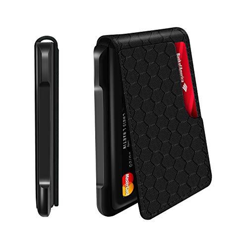 Mens Wallet Tactical Bifold Wallets for Men Metal RFID Blocking Aluminum Money Cards Holder Gifts for Men (Aluminum and PU, Grid)