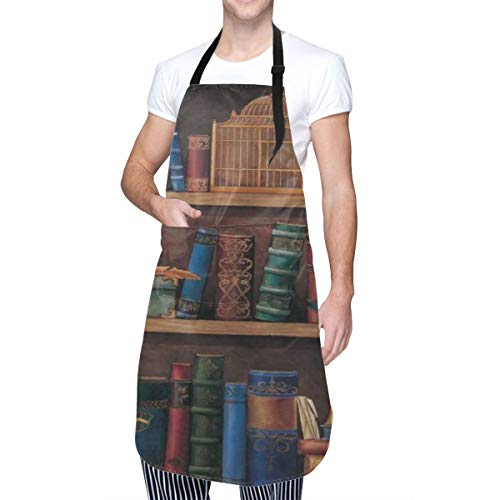 COFEIYISI Adjustable Kitchen Apron with pockets Book Shelf Letter Telescope Birdcage Home Kitchen Cooking Baking Gardening Apron for Women Men