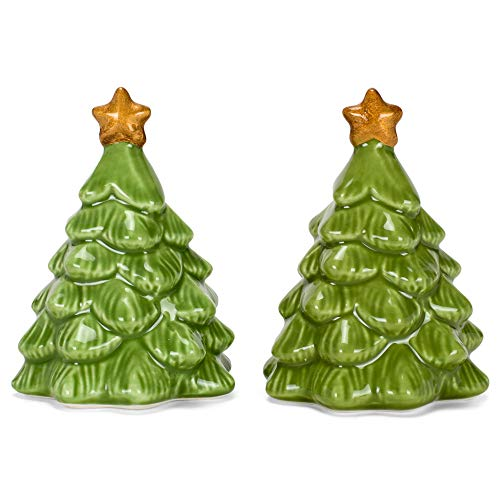 Grasslands Road 476196 Christmas Trees Salt and Pepper Shaker Set, 2.25 x 2.25 x 3 inch, Green