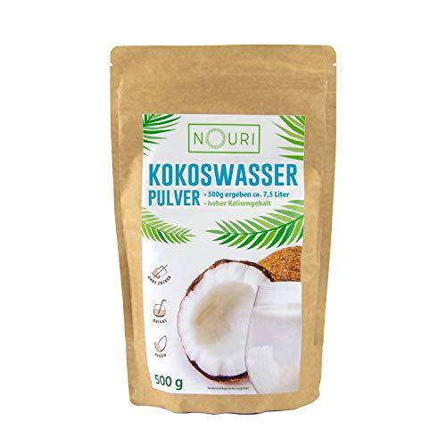 NOURI 100{3024bef4a71d12c498340ec8fac7fc093a4a9ad6b2b55b36f529c953fbbf06ee} Kokoswasser Pulver 500 g, Ergibt ca. 7,5 Liter Kokoswasser, Hoher Kaliumgehalt, Ohne Zusätze, Gefriergetrocknet, Vegan, vielseitig anwendbar, gute CO2-Bilanz