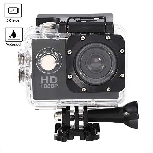 Tosuny Mini Sportkamera mit 2.0 Zoll HD Bildschirm, USB2.0 Action Camera 90 ° Weitwinkel wasserdicht, unterstützt 32 GB Speicherkarte, für Kinder, Extremsport und Outdoor-Sportaktivitäte(Schwarz)