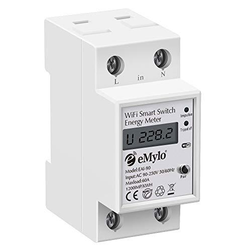 eMylo Smart Wifi Energiezähler Einphasiger 35mm DIN Schienen Stromzähler 60A 90-250 V Wifi-Stromzähler mit digitaler LCD-Anzeige kWh Amperemeter Wattstunde Haushaltsstromüberwachung Energiezähler