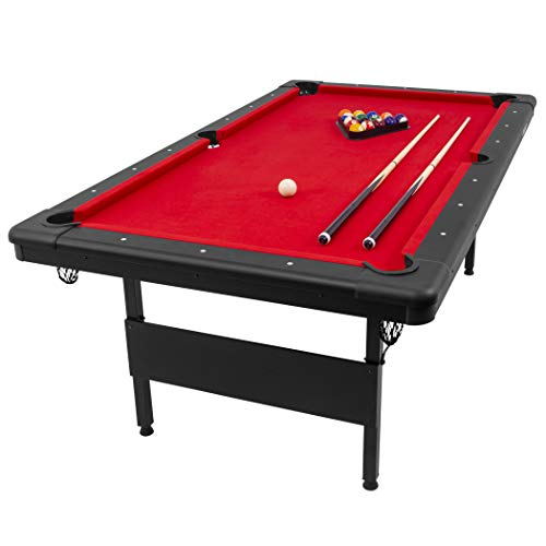 GoSports 7' Billiards Table - Portable Pool Table - Includes Full Set of Balls, 2 Cue Sticks, Chalk, and Felt Brush, Black, Red