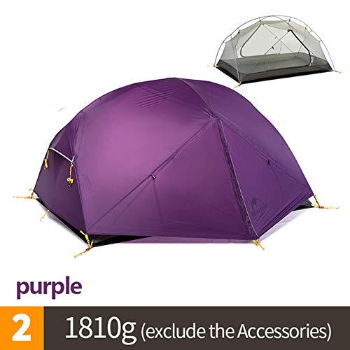 Mdsfe NatureHike Outdoor 1-2 person Camping Tents Mongar 20D Silicone Fabric tent Ultralight Double Layer 3 seasons travel hiking Tent-Purple