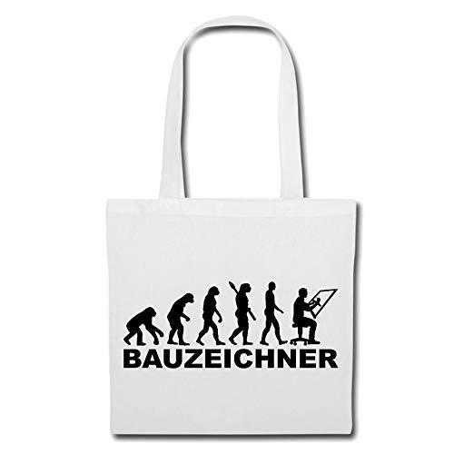 Tasche Umhängetasche BAUZEICHNER - BAUZEICHNERIN - Grafik - ZEICHENBLOCK - Baustelle Einkaufstasche Schulbeutel Turnbeutel in Weiß