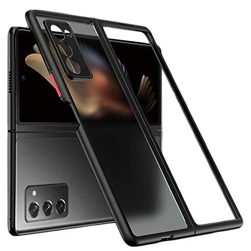 Miimall Kompatibel mit Samsung Galaxy Z Fold 2 Hülle, Farbtasten Matt Transparent Hard PC Back + Silikon Stoßstange Gehäuse Vollschutz für Samsung Galaxy Z Fold 2 - Nacht schwarz