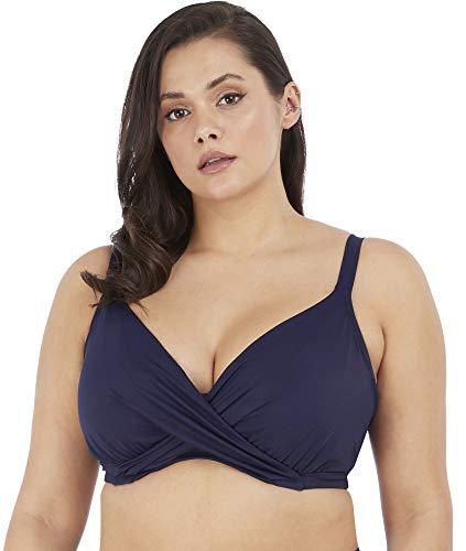 Elomi Plus Size Magnetic Wrap Underwire Bikini Top, 34H, Midnight