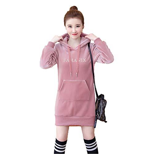 Sudadera con capucha para mujer, informal, suelta, talla grande, manga larga, rosa, M