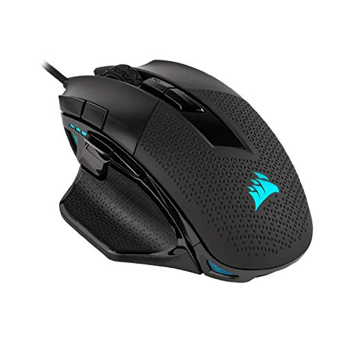 Corsair Nightsword RGB, Performance Tunable FPS/MOBA Gaming Mouse, Black, Backlit RGB LED, 18000 DPI, Optical (Renewed)