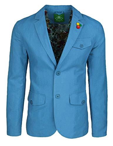 ADR Giacca Uomo in Lino Classic Elegante 2 Bottoni Blazer Man's Jacket (XL, Celeste)