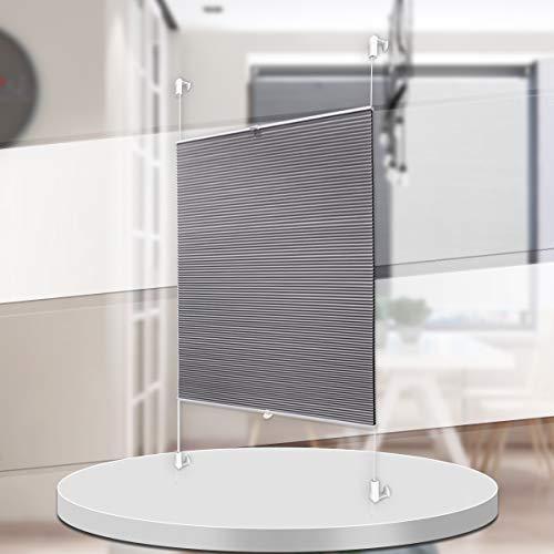 Homland Wabenplissee Thermo Plissee Klemmfix 90x130cm (BxH) Grau-Weiß Zweifarbig Doppelplissee ohne Bohren Blickdicht Sonnenschutz Rollos für Fenster und Tür