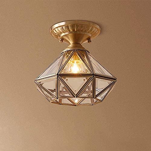 Wlnnes 1 Lámpara de dormitorio ligero Polígono Diseño Luz de techo Dorado Moderno Pasillo Lámpara de techo Lámpara de vidrio Lámpara de vidrio Simple Lámpara de sala de estar E27 Socket, Iluminación p