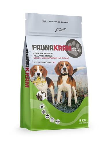 Faunakram Getreidefreies Hundefutter Senior / Diät - Hundetrockenfutter mit Geflügel für ältere Hunde Aller Rassen, ebenfalls geeignet als Diätfutter für Hunde bei Übergewicht, (Huhn, 5 kg)