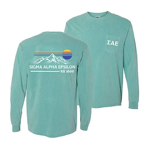 Sigma Alpha Epsilon Fraternity Greek Comfort Colors Retro Mountain Tee SAE Green