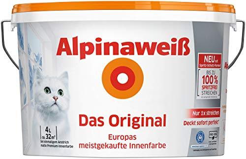 Alpinaweiß - Das Original, 4 Liter, weiße Wandfarbe, höchste Deckkraft, deckt beim ersten Anstrich