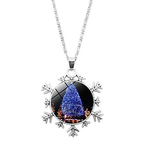 DZX Time Gemstone Jewelry, Hermosa Planta de árbol de Navidad Azul Celeste, Pulsera de Copos de Nieve de Navidad, Collar Europeo y Americano, joyería de Cristal, Regalo de Moda