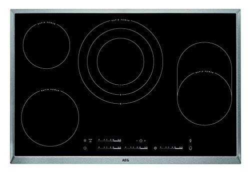 AEG HK854870XB Einbaukochfeld / autarkes Kochfeld / Bräter- und Dreikreiszone / 4 ultra-schnellaufglühende Kochzonen / 80 cm Glaskeramikkochfeld / Edelstahlrahmen
