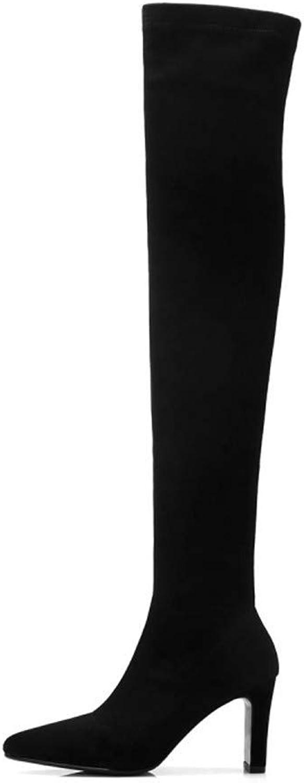 Shirloy Glamour Damen Schuhe Hochhackige Kniestiefel Elastische Damen Stiefel Student Stiefel Fashion Stiefel