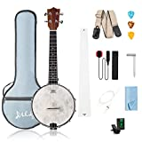 Mulucky 4 String Banjo Ukulele Concert 23 inch Remo Drumhead Maple Body With Truss Rod Gig Bag Tuner...