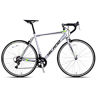 Hiland Road Bike 700C City Commuter Bicycle with 14 Speeds Drivetrain Silver 50 cm Frame