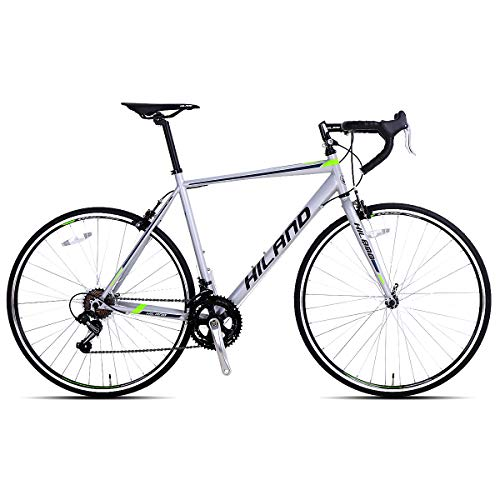Hiland Road Bike 700C City Commuter Bicycle with 14 Speeds Drivetrain Silver 54 cm Frame