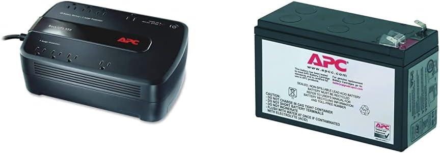 APC UPS, 650VA UPS Battery Backup Surge Protector, BE650G1 Backup Battery, Dataline Protection, Back-UPS Uninterruptible Power Supply Black & UPS Battery Replacement RBC17