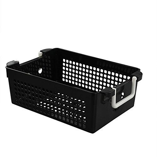 Jekiyo Black Plastic Basket with Handles, 4 Packs