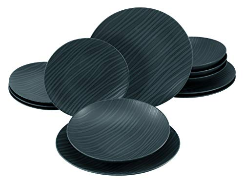 Creatable, 23246, Serie WAVES black, Geschirrset, Tafelservice 12 teilig, Steinzeug