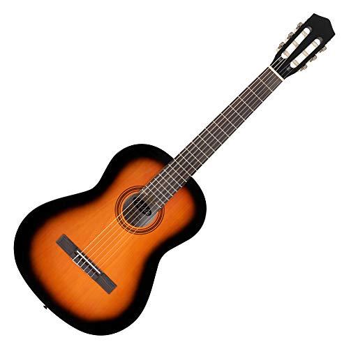 Calida Benita 4/4 Konzertgitarre Sunburst - Akustikgitarre mit 18 Bünden - geeignet für Kinder im Alter ab 12 Jahren - Bundmarkierungen - Nylonsaiten - 101 cm Gesamtlänge