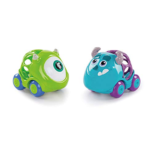 Bright Starts Disney Baby Pack 2 Vehículos Monstruos, S.A., Colección Oball Go Grippers