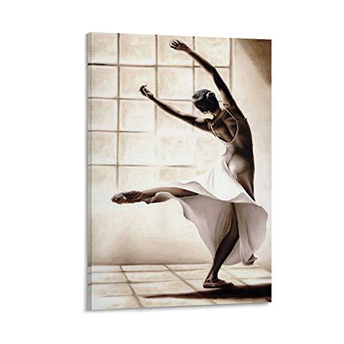 Póster de ballet con texto en inglés 'Un elegante bailarín' de la danza de la delicadeza del baile y arte de la pared, impresión moderna del dormitorio familiar de 50 x 75 cm