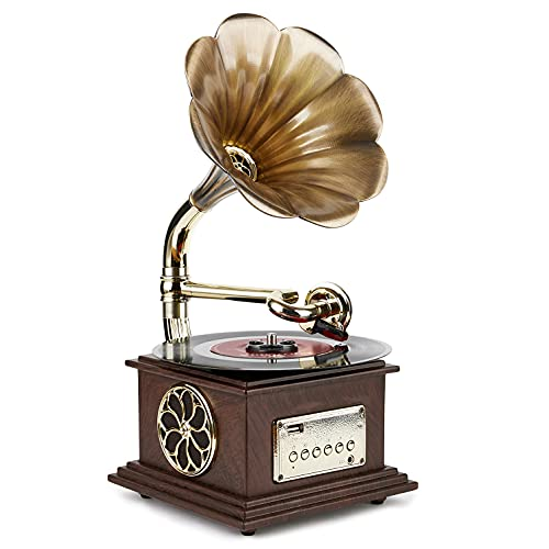 Asommet Gramophone Record Player Retro Turntable All in One Vintage Phonograph Nostalgic for LP with Copper Horn, Built-in Speaker 3.5mm Aux-in/USB/FM Radio 13.5in