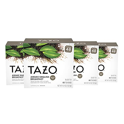 TAZO Tea Bags for a Bold and Delightful Traditional Breakfast-Style Black Tea With High Caffeine, 48 Count, Pack of 4